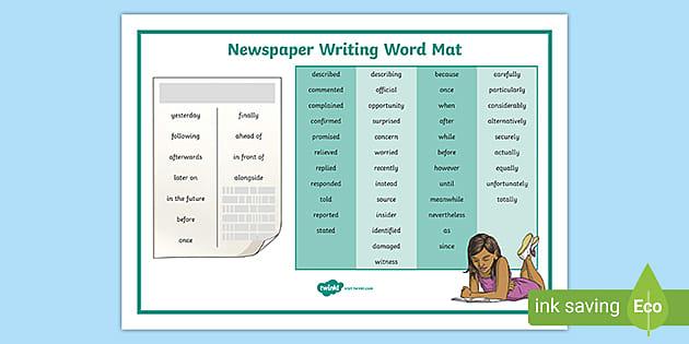 Uks2 Newspaper Writing Word Mat Teacher Made