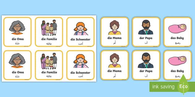 FREE! - Deutsch-Arabische Meine Familie Memory Karten