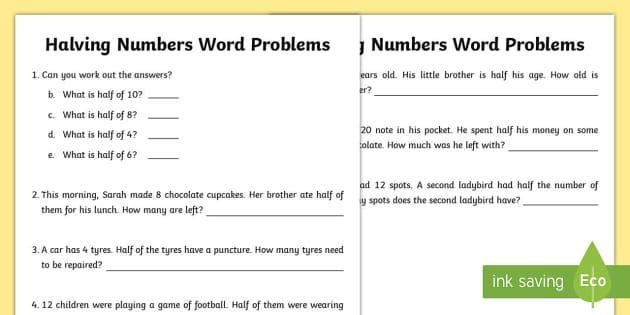 Halving Numbers Word Problems Worksheet / Worksheet