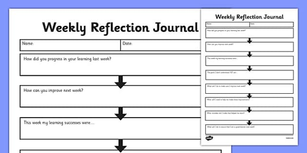 Weekly Reflection Journal - weekly work, reflection, journal