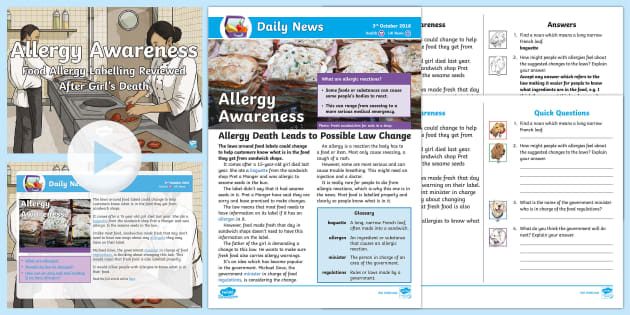 NEW * LKS2 Allergy Awareness Daily News Resource Pack