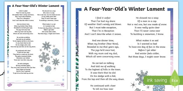 Ks2 A Four Year Olds Winter Lament Poem Poem Winter