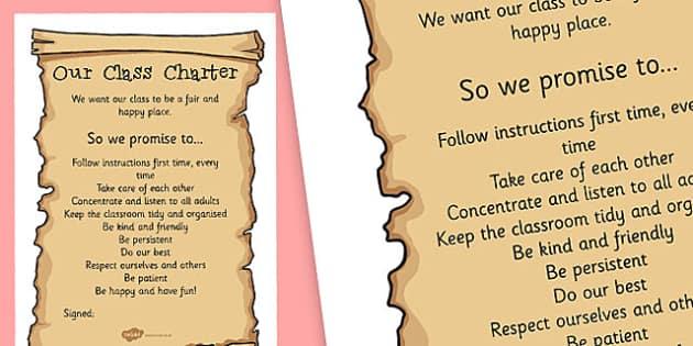 editable class charter template poster  teacher made