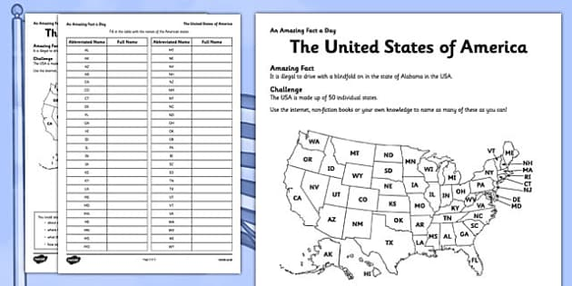 Ks2 north america primary resources america usa page 1 the united states of america activity sheet sciox Gallery