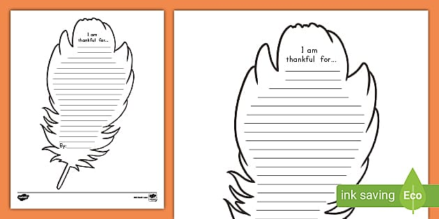 I Am Thankful For Template Turkey Feather Writing Prompt