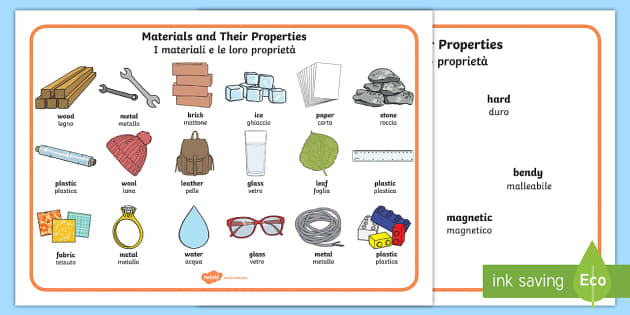 Materials And Their Properties Word Mat English Italian