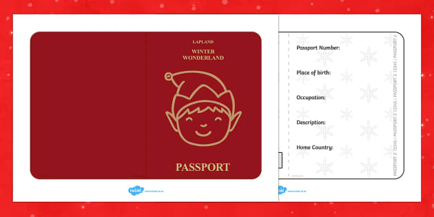 elf passport writing frame