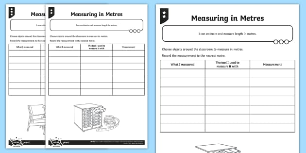 measuring in metres differentiated worksheet activity sheets. Black Bedroom Furniture Sets. Home Design Ideas