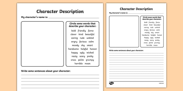 Character Design Jobs Uk : Character description writing templates