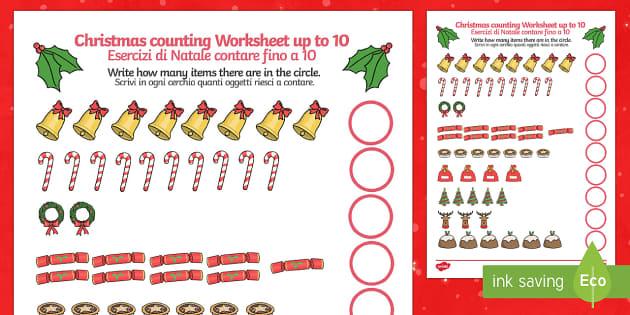 Counting At Christmas Worksheet Up To 10 English/Italian