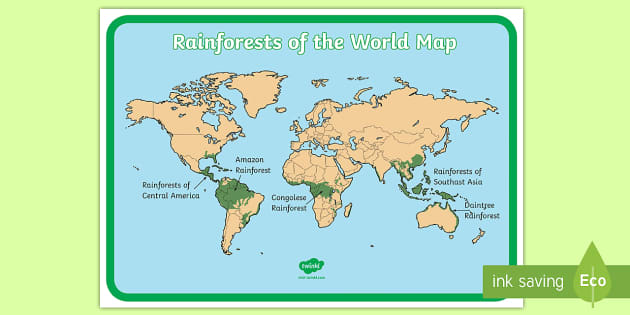 Map 9f America.Rainforests Of The World Map Display Poster Amazon Rainforest
