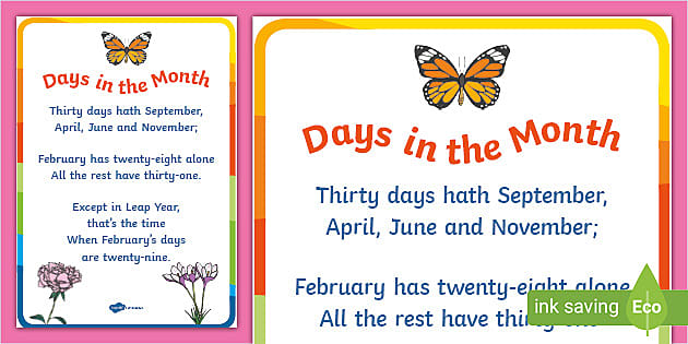 Month Rhymes For Children Poster Ks1 Primary Resources