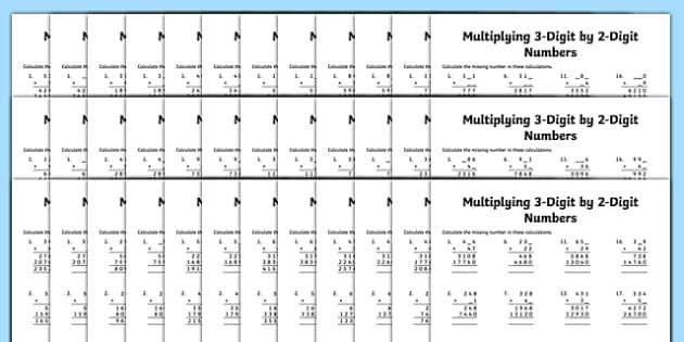 multiplication 3 digit x 2 digit missing numbers differentiated. Black Bedroom Furniture Sets. Home Design Ideas