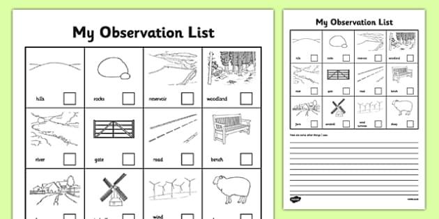 local walk observation sheets local area walk countryside. Black Bedroom Furniture Sets. Home Design Ideas