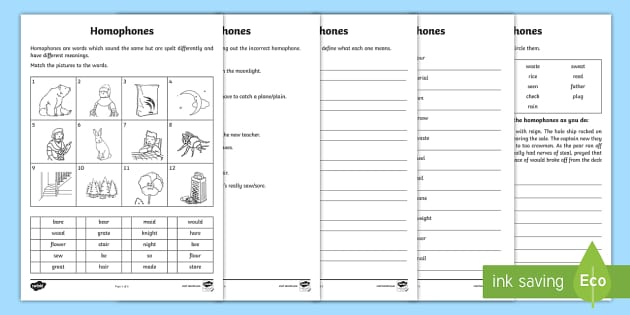 Homophones Worksheet Activity Sheets Ks2 Homophones