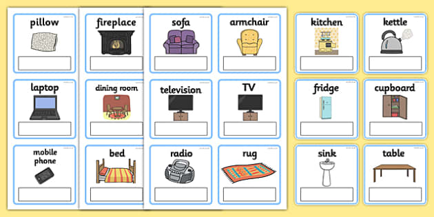 EAL Everyday Objects at Home Editable Cards with English - EAL