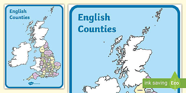 Map Of English Counties Teacher Made