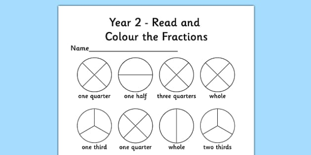 year 2 read and colour a fraction worksheet activity sheet. Black Bedroom Furniture Sets. Home Design Ideas