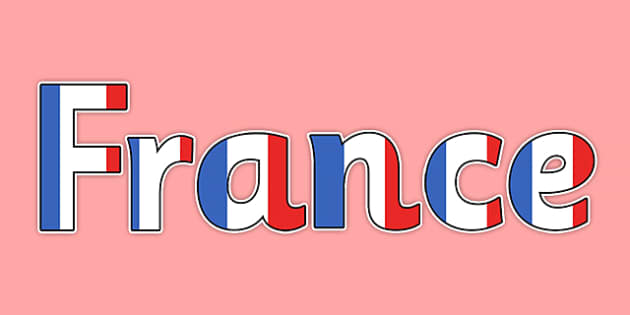 French Flag Themed France Title Display Lettering