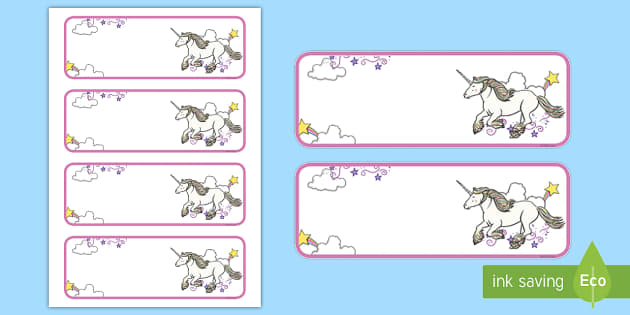free unicorn themed editable drawer peg name labels blank