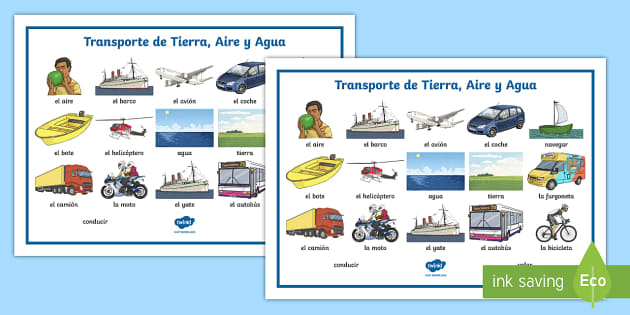Land, Air And Water Transport Word Mat
