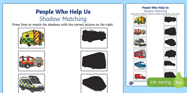people who help us vehicles shadow matching worksheet activity sheet. Black Bedroom Furniture Sets. Home Design Ideas