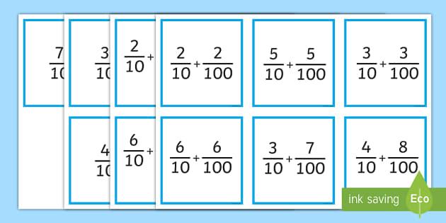 adding tenths and hundredths matching game tenths hundredths adding. Black Bedroom Furniture Sets. Home Design Ideas
