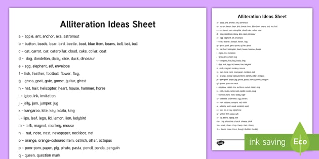 Alliteration Ideas Sheet - eyfs, childminders ...