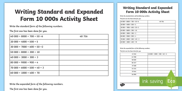 expanded form of 8000  Writing Standard and Expanded Form 10 10s Worksheet ...