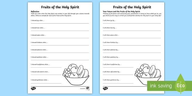 The Gifts and Fruits of the Holy Spirit Worksheets