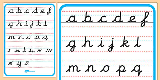 cursive alphabet letter formation poster lower case