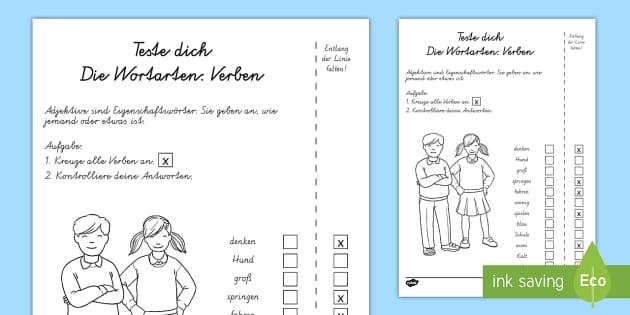 Wortarten: Verben Test - Sommer, Wortarten, Verben, Kl.1/2