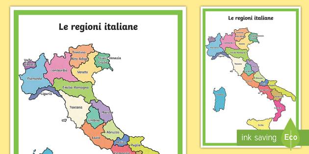Mappa Italia Politica Regioni.Scuola Primaria Le Regioni Italiane Cartina Politica