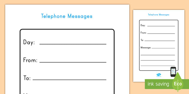 telephone message form Home Living Role Play Telephone Message Form - home living