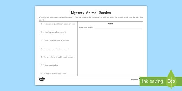 Mystery Animal Similes Worksheet Activity Sheet