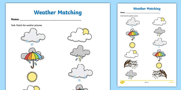 Weather Symbols Matching Worksheet Worksheet Irish