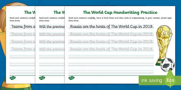 new ks2 the journey to cursive the world cup handwriting practice. Black Bedroom Furniture Sets. Home Design Ideas