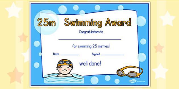 25m swimming certificate swimming certificate 25m awards