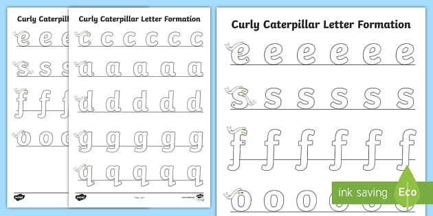 curly caterpillar letter formation worksheet worksheet curly caterpillar. Black Bedroom Furniture Sets. Home Design Ideas