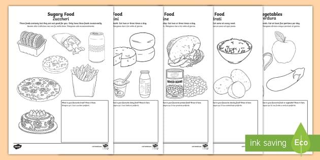 Healthy Eating Colouring Sheets EnglishItalian Healthy