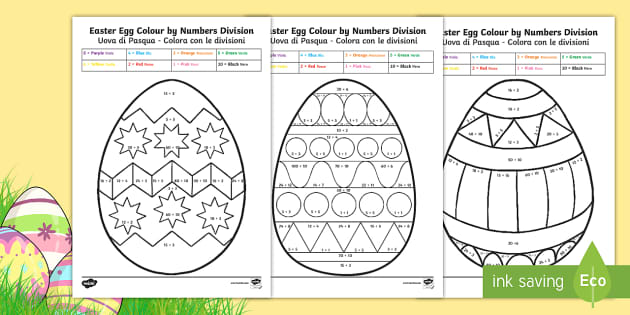 easter egg division colour by number english italian easter