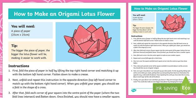 KS2 Origami Lotus Flower Craft Instructions (teacher made)