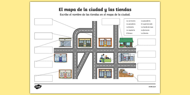 shops in town map worksheet activity sheet spanish worksheet. Black Bedroom Furniture Sets. Home Design Ideas