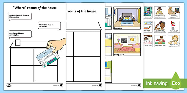 FREE! - Where Rooms Of The House Cut And Stick Activity