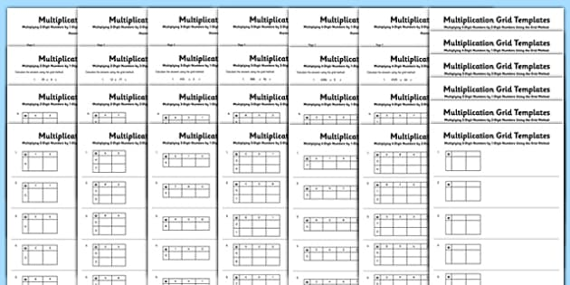 multiplication grid method worksheets multiplication grid. Black Bedroom Furniture Sets. Home Design Ideas