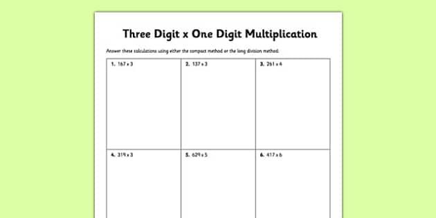 Three-Digit x One-Digit Multiplication Worksheet / Worksheet - long