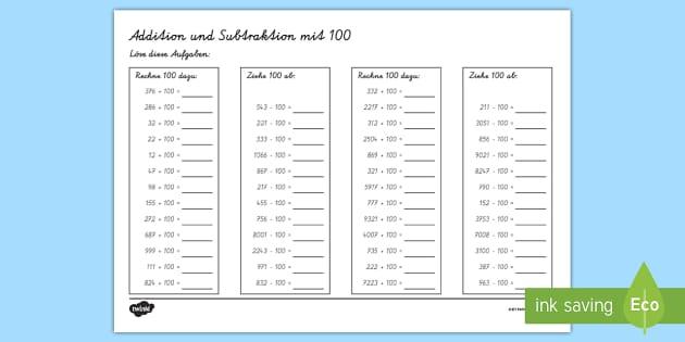 NEW * Addition und Subtraktion über 100 Arbeitsblatt