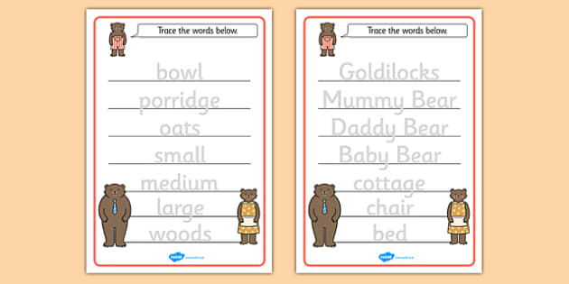 Goldilocks and the Three Bears Trace the Words Worksheets – Goldilocks and the Three Bears Worksheets