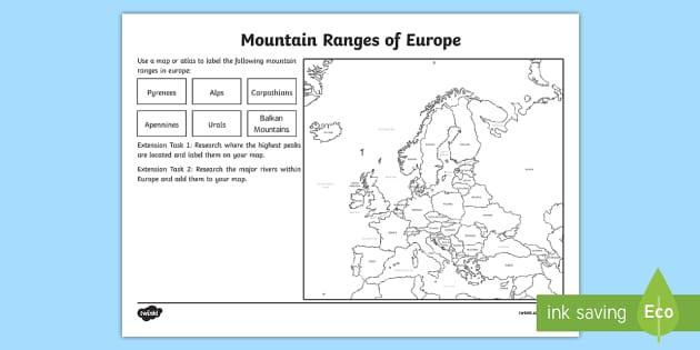 europe mountain ranges worksheet european countries geography. Black Bedroom Furniture Sets. Home Design Ideas