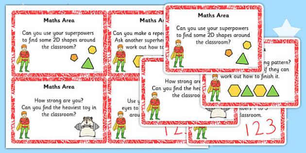 Eyfs Superhero Themed Maths Area Challenge Cards Superhero